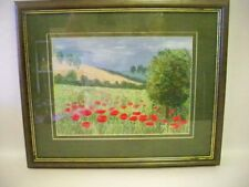 POPPIES - Original Stump Work Painting by the Artist Mary Broughton