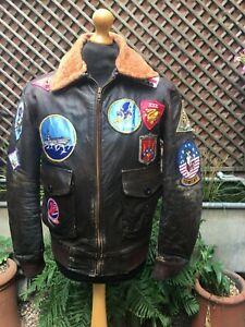 Vintage Military leather Flying Pilots Flight bomber Casual zip jacket men's M