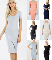 Women's Long Midi Pencil T-Shirt Dress Casual Soft Stretch Cotton Knit Solids