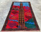 Authentic Hand Knotted Afghan Balouch Pictorial Wool Area Rug 5 x 3 Ft