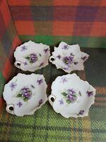 4 Rossetti Spring Violets Occupied Japan Maple Ivy Leaf Trinket Butter Ashtray