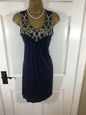 Miss Selfridge Navy Blue Beaded Jewelled Dress, UK 10, New With Tags £40