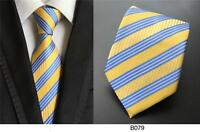 Yellow and Blue Striped Patterned Handmade 100% Silk Wedding Tie