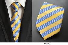 Amarillo y de Rayas Azules Estampado Hecho a Mano 100% Seda Corbata de Boda