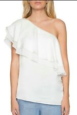 Willow & Clay Womens Size M Ivory One-Shoulder Embelished Ruffle Top  79-9