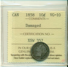 ICCS CAN 1858 10 cents VG-10 Damaged Certification No. XSW 357
