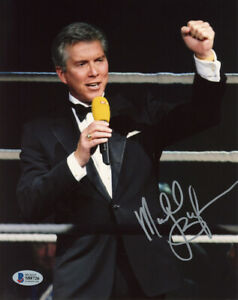 MICHAEL BUFFER SIGNED 8x10 PHOTO ANNOUNCER LET'S GET READY TO RUMBLE BECKETT BAS