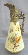 Ernst Wahliss EW Vienna Austria Hand Painted Pitcher w/Filigree Cut Work