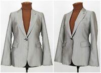 Womens ZARA Limited Edition Blazer Jacket Silk Wool Silver Grey EU42 / UK12