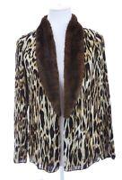 Chico's Faux Fur Leopard Print Crinkle Chiffon Jacket Cardigan Womens Sz 0 Small