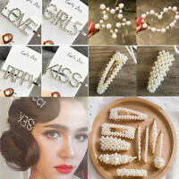 Crystal Kiss Letters Hairpin Pearl Barrette Accessories Rhinestone Hair Clips