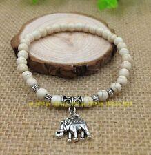 Lovely DIY white turquoise Tibet silver elephant pendant charm elastic bracelets