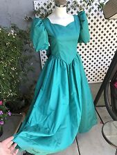 VINTAGE 80'S Puffy Sleeve Teal Prom Bridesmaid Fancy Dress USA Hand Made