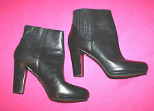 NINE WEST NW7PARAWAY BLACK LEATHER SLIP ON BOOTIES SIZE 11 ANKLE BOOTS