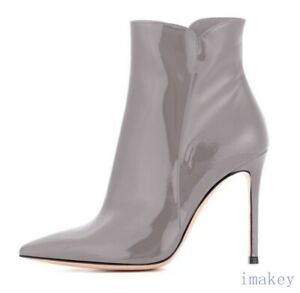 Occident Womens High Heels Faux Leather Ankle Boots Stilettos Pointy Toe Shoes 8