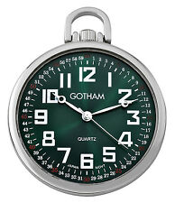 Gotham Men's Silver-Tone Slim Railroad Open Face Quartz Pocket Watch GWC15027SG
