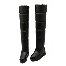 Size4-11 Womens Snow Boots Creeper Knee High Booties Platform Lady Pull On Boots