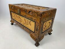 More details for antique chinese hand carved large camphor wood storage / book chest