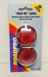 """ROADPRO RED """"STICK-ON"""" LIGHTS 1.75"""", 2-PACK,12V, 2 WIRE CONNECTION RP-3156"""