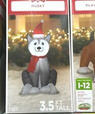 Holiday Time Inflatable Husky Dog 3.5 Ft Tall Airblown Gemmy Christmas Decor