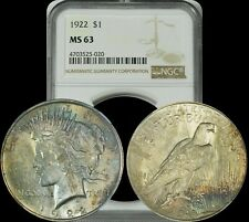 1922 Silver Peace Dollar NGC MS63 Green/Gold Colored Toned Coin