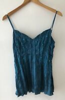 Satin Cami Top UK 12 Y2K 90's Style Turquoise Satin Beads Milkmaid Camisole