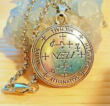 Seal Archangel Michael Solomon Silver Pendant Amulet Stainless Steel Necklace