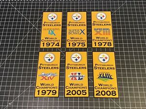 Pittsburgh Steelers 6 Super Bowl Champions Custom Banner Decals Man Cave 3 Szs