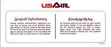 Vintage US Air Airways Airlines Seat Occupied Information Smoking Rules Card