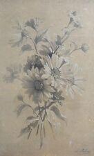 Grand Dessin XIXème à la Pierre Noire et rehauts de craie - Bouquet de Fleurs