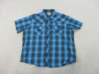 Wrangler Pearl Snap Shirt Adult 2XL XXL Blue Gray Western Rodeo Cowboy Mens A14