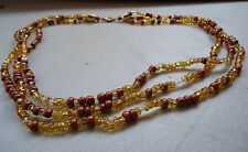 Vintage Triple Strand Necklace Amber Resin Bead Copper Spacer Gold Tone 18""