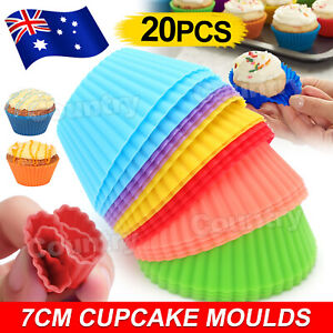 20x Muffin Silicone Cupcake Case Round Cup Cake DIY Bake Mold Baking Mould