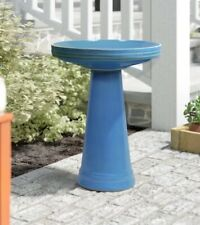 Outdoor Bird Bath Pedestal Backyard Decor Ceramic Garden Large Water Bowl Blue