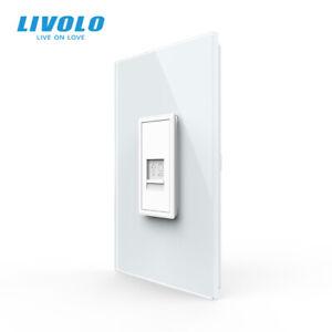 LIVOLO AU/US Standard Wall 1Gang Computer COM Socket Outlet Crystal Glass Panel