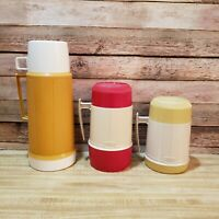 3 Vintage Thermos brand Vacuum Bottles Sizes:10oz, pint size, Super Quart