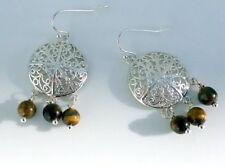 Tigerauge Ohrringe Ohrhänger Oriental Ornament Braun Goldgelb Silber