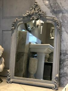 Distressed Grey French Statement Over Mantle Scroll Table Top Arched Wall Mirror