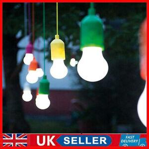 UK Battery Operate LED Light Bulb Rope Pull Cord Reading Lamp String Night Decor