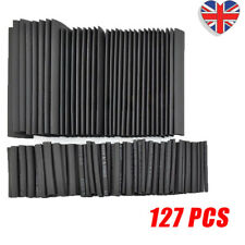 127Pcs Car Electrical Cable Heat Shrink Tube Tubing Wraps Sleeve Assorted Black