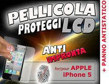 Pellicola proteggi LCD PROTEZIONE DISPLAY per APPLE IPHONE 5 ANTI IMPRONTA