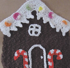 Crochet Pattern ~ GINGERBREAD HOUSE DISHCLOTH Christmas ~ Instructions