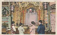 "*California Postcard-""Interior, Tin How Temple (Joss House) *Chinatown Bar/ S.F."
