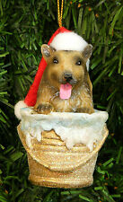 COLLIE PUP IN BATH BUCKET/PALE WEARING SANTA HAT DOG CHRISTMAS ORNAMENT