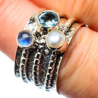 Blue Topaz, Cultured Pearl 925 Sterling Silver Ring Size 7.25 Jewelry R28455F