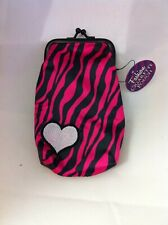 Pink Zebra Striped with Heart Nylon Soft Cigarette Case 100's Nwt