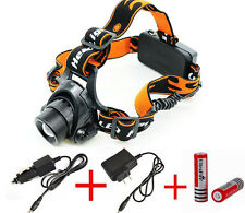 5000LM CREE XML T6 LED Zoomable Headlamp Headlight Head Torch + 2x 18650 Charger