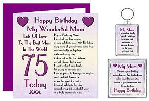 75th Mum Happy Birthday Gift Set - Card, Keyring & Magnet - Lots Of Love Present