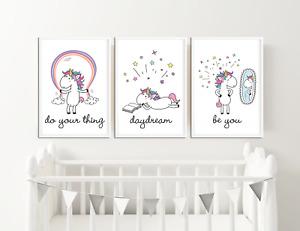Unicorn Prints / Pictures for Girls Bedroom / Nursery Magical, Unicorn, Rainbow