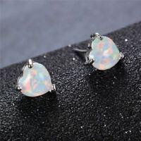 Romantic Love heart Shaped 6 MM White Fire Opal Solid Silver Stud Earrings